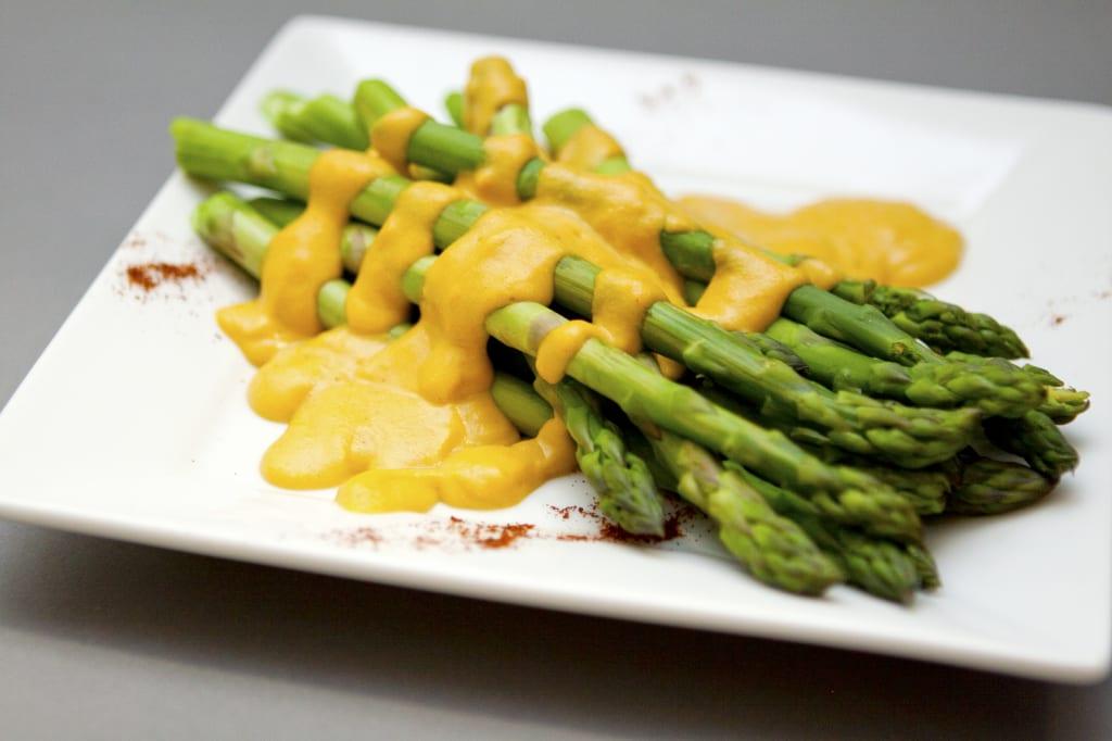 NONA Cheesy + steamed asparagus